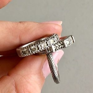 Judith Ripka Silver Stack Rings - size 7